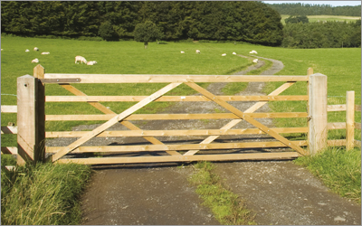 Fixings and gate fittings for farms